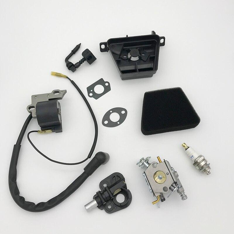 Carburetor Air Filter Ignition Coil Module Spark Plug Kit Fit Partner 350 351 370 371 420 Chainsaw Parts Walbro 33-29 Carb