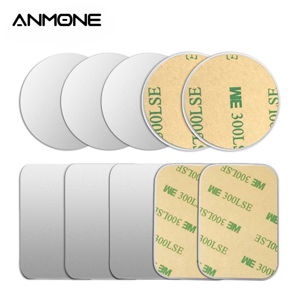 ANMONE 5pcs/1pc Magnetic Holder Car Phone Holder Metal Plate Disk For Iphone X Xiaomi Iron Sheet Sticker Car Stand Mount 0.3mm