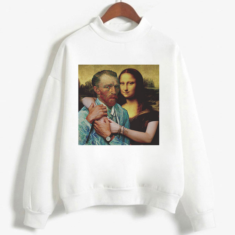 Harajuku Hoody Aesthetic Printed Mona Lisa And David Intimately Held Together Women Sweatshirt 2020 Autumn Winter Casual Hoodies