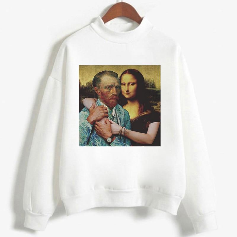 Harajuku Hoody Aesthetic Printed Mona Lisa And David Intimately Held Together Women Sweatshirt 2020 Autumn Winter Casual Hoodies