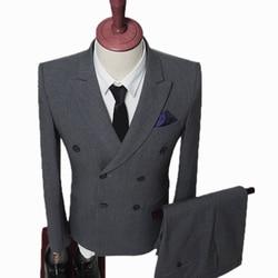 Los hombres doble breasted traje de boda para hombres 2019 trajes para hombre, con pantalones viento británico slim blazer
