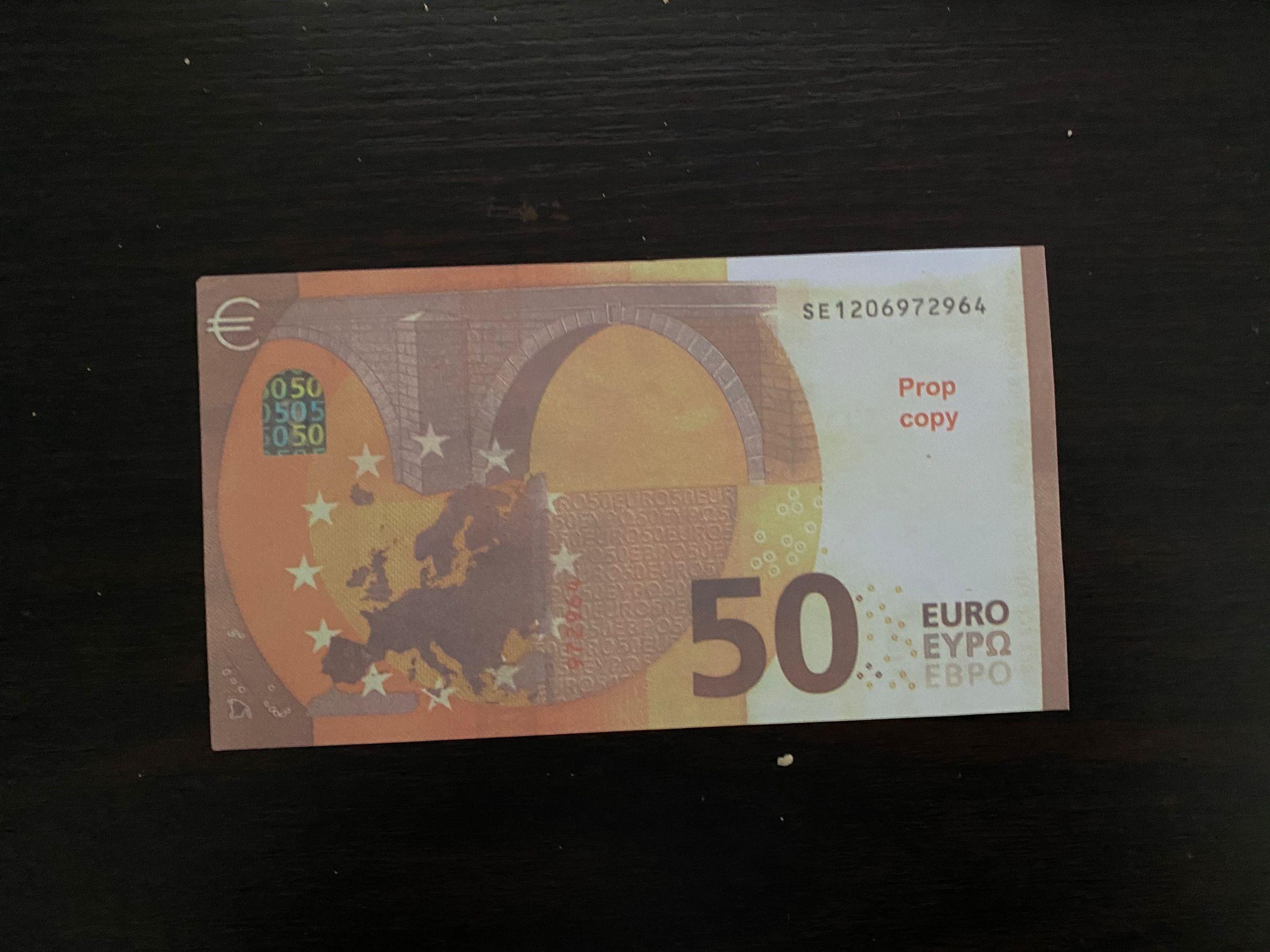 Dinero de juguete de broma, dinero de tamaño Real, 100 Uds., billetes de 50 Euro, fiesta grande, joyería de boda, no dinero real