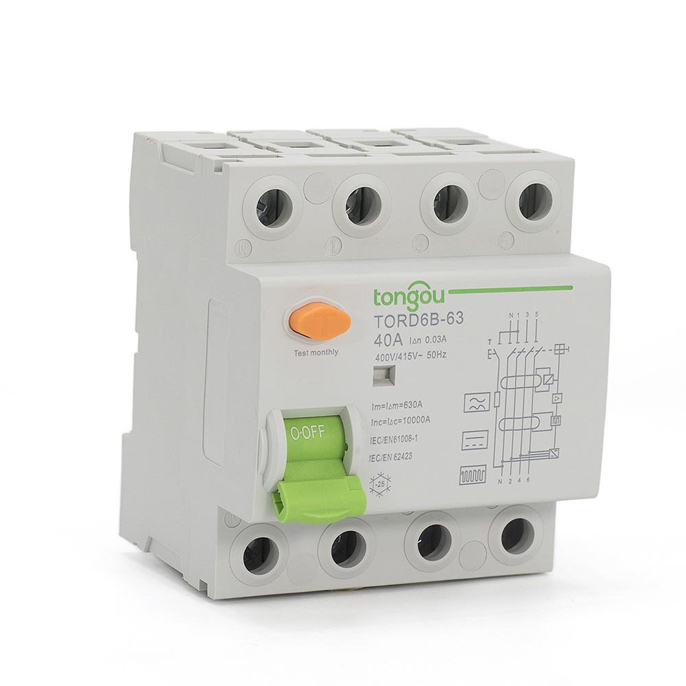 <font><b>4</b></font> Pole 40 Amp 30 mA Type B 10KA RCCB RCD 230V <font><b>400V</b></font> Residual Current Circuit Breaker For EV PV Differential with CE Certificate image