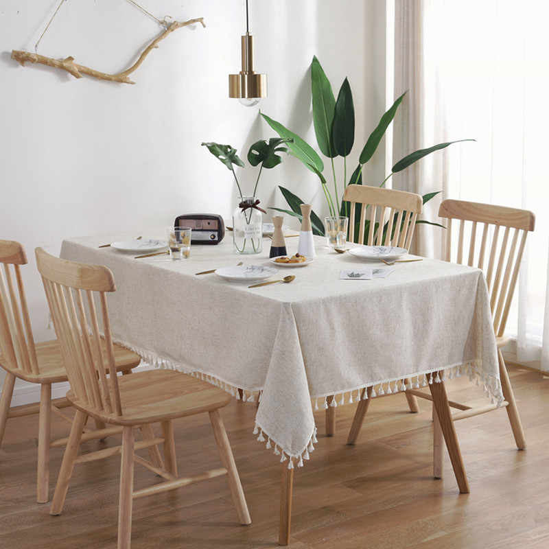 New Nordic semplice di bambù e di lino solido nappa tovaglia pianura e tutti i tipi di copertura in cotone e lino tovaglia rettangolare
