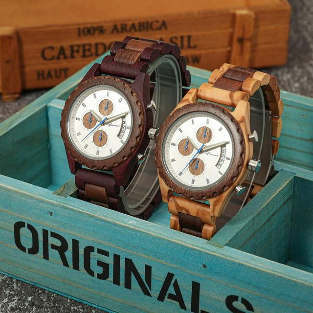 Shifenmei Wooden Watches Men 2019 Military Wooden Multi-Function Date Display Quartz Watches Top Luxury Brand relogio masculino 4
