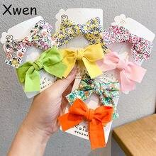 Xwen-Conjunto de 2 unidades de lazos florales para niña, horquilla, adorno de pelo para niños, Lado impreso, flequillo, Clip, accesorios de moda, OH2137
