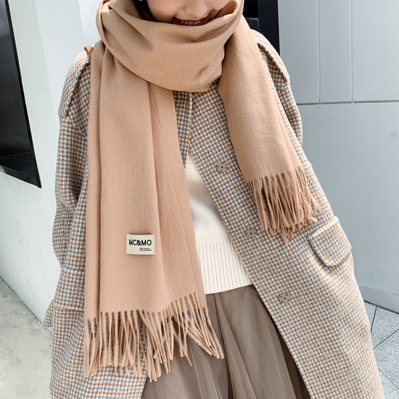 mcmo High end brand pure color cashmere like women's autumn and winter Korean version versatile long tassel Scarf Shawl