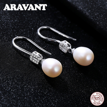 925 Sterling Silver Pave AAA+ Cubic Zircon Natural Freshwater Pearl Drop Earring For Women Jewelry 3 Colors