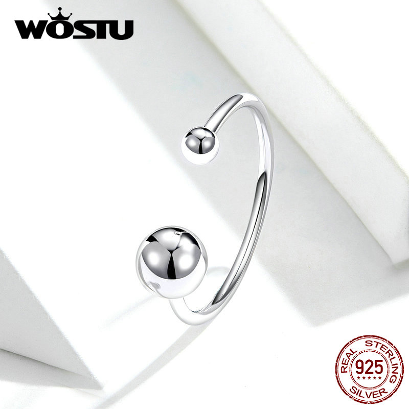 WOSTU Authentic 925 Sterling Silver Opening Rings Cute Silver Ball Simple Adjustable Rings For Women Fashion Jewelry FIR575