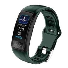 P12 الذكية الفرقة ساعة رياضية جهاز تعقب للياقة البدنية PPG ECG SPO2 معدل ضربات القلب مراقبة ضغط الدم USB تهمة مباشرة سوار