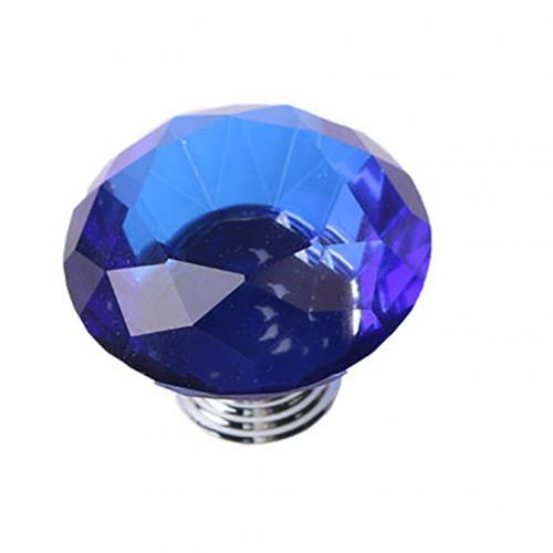 5 шт., 30 Вт, 40 мм с украшением в виде кристаллов Стекло ручки шкаф для кухонных шкафов, выдвижной ящик для шкафа ручки Diamond Форма дизайн с украшением в виде кристаллов Стекло ручки шкафа - Цвет: Blue 40mm