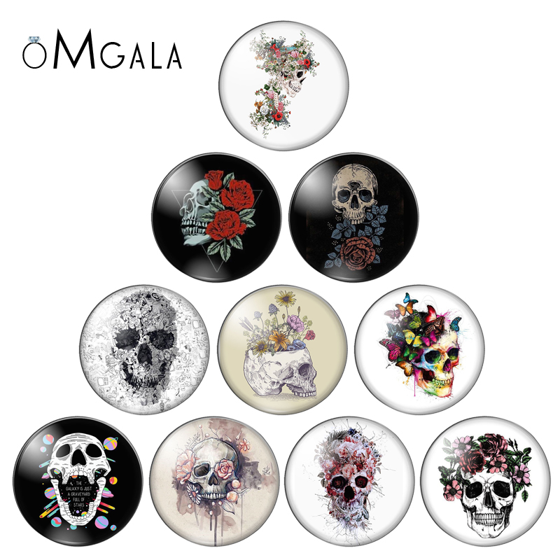 New FlowersSkull RosePunk Fashion 10pcs 8mm/10mm/12mm/18mm/20mm/25mm Round Photo Glass Cabochon Demo Flat Back Making Findings