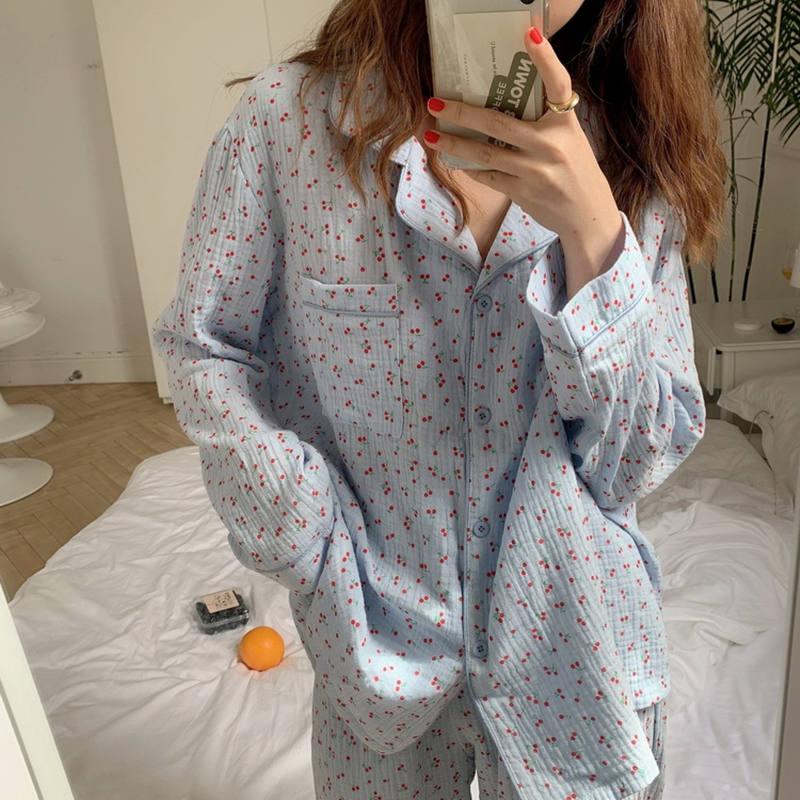 Alien Kitty-pijama holgado con hermosa cereza para mujer, ropa para el hogar, de algodón puro, de manga larga, para otoño e invierno, 2020