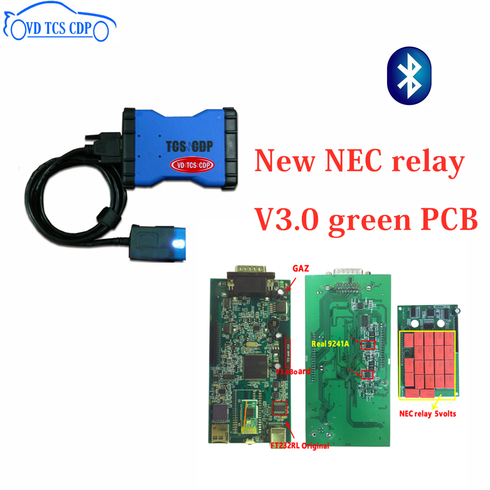 New best quality V3.0 green pcb 2015.3 Software keygen with Bluetooth VD TCS CDP PRO for cars trucks obd scan tool free shipping-in Car Diagnostic Cables & Connectors from Automobiles & Motorcycles