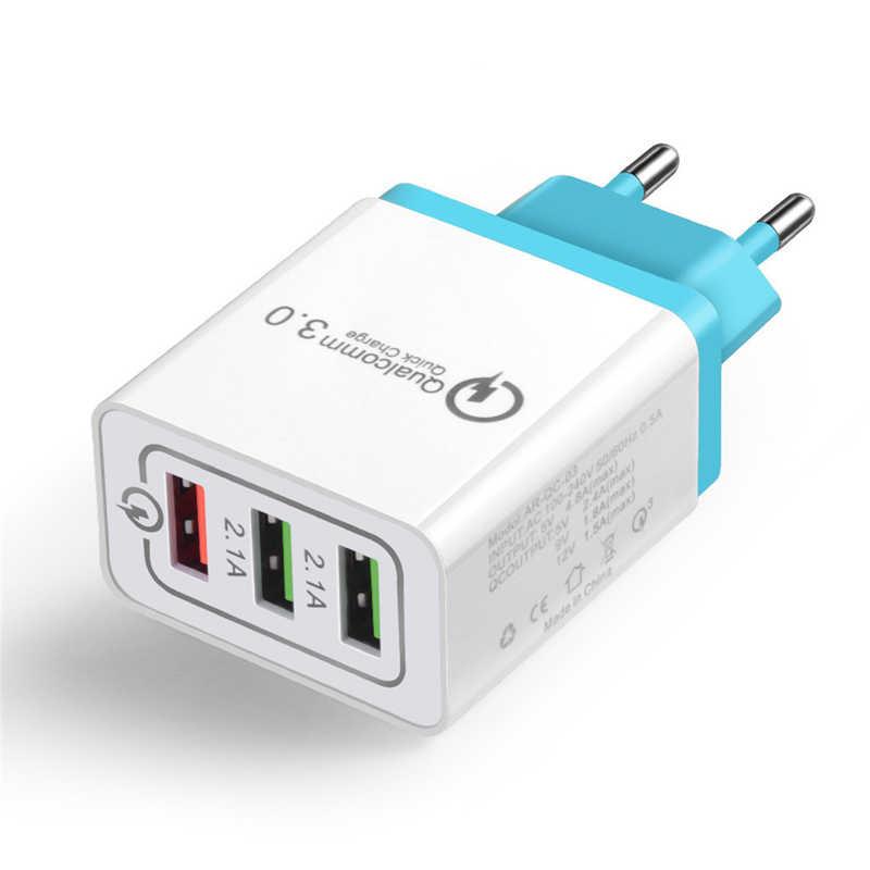 Адаптер быстрого зарядного устройства 3 usb-порта QC3.0 блок вилки соединителя 2.1A/25 Вт для путешествий EU/US SP99