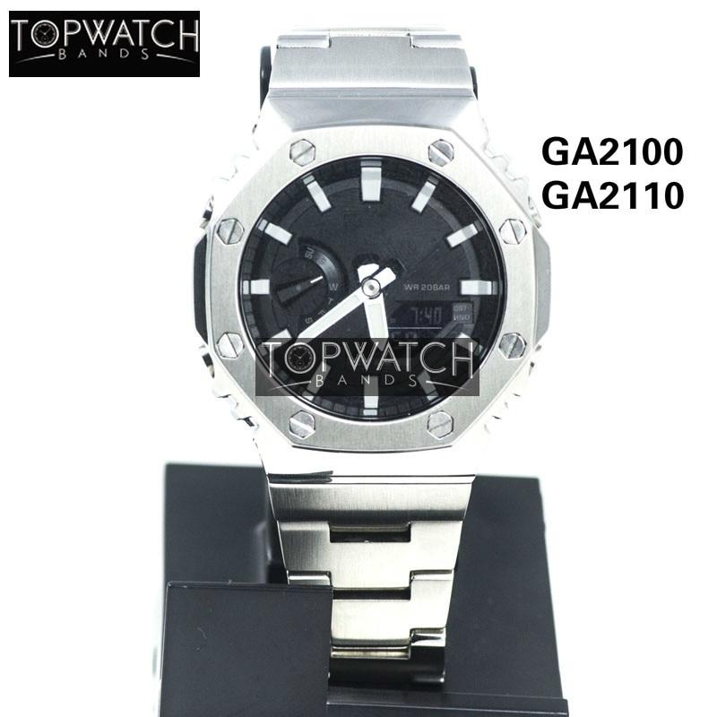 Pulseira de Relógio Pulseira de Metal Prata Preto Conjunto Relógio Modificação Pulseira Bezel Aço Inoxidável Case Ga-2100 Ga2100 Ga2110