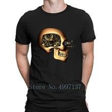 Steampunk Automaton 로봇 해골 1 T 셔츠 Crazy Tee Shirt 니트 문자 남성 봄 가을 새로운 패션 라운드 넥 셔츠