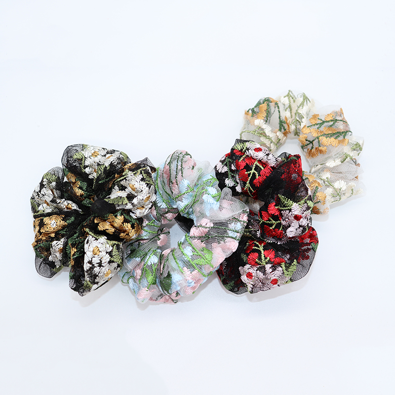 Free Shipping Embroidered Lace Flower Women's Hair Scrunchies Korean Style Hair Bands Girls Accessories Ponytail Holder