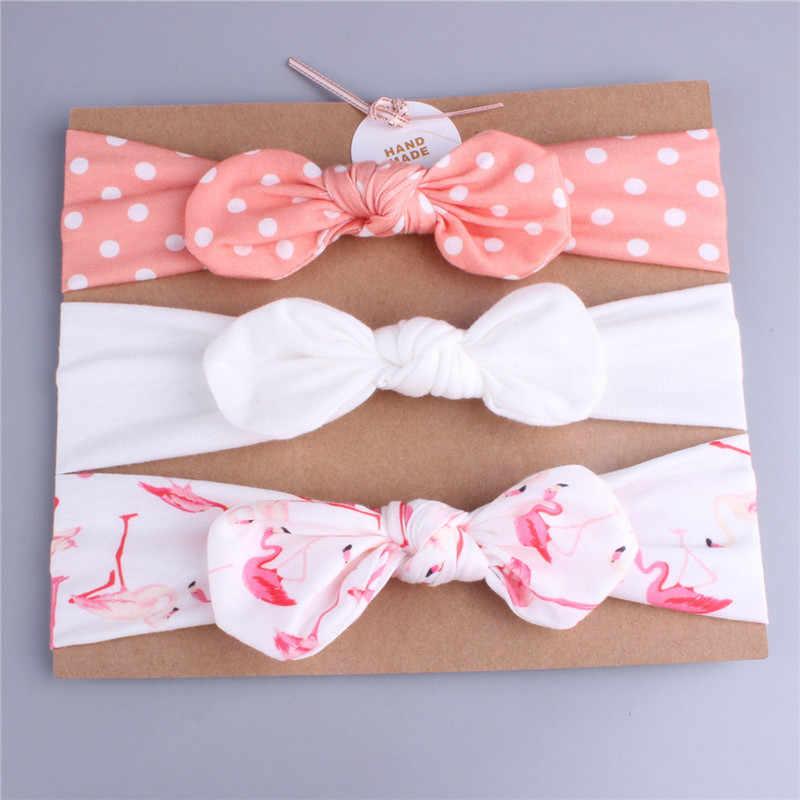 3 adet/takım bebek kafa bandı kızlar saç aksesuarları pamuk tavşan kulak türban yay elastik kafa bandı bebek prenses noel günü hediyeleri
