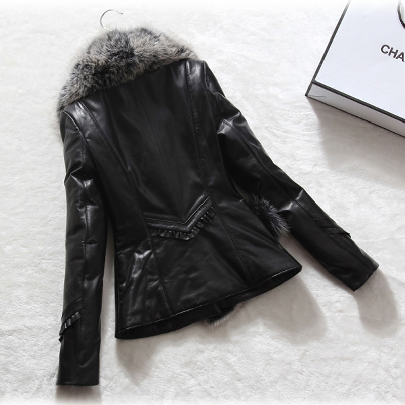 Jacket Leather Genuine Real Fox Fur Collar 100% Real Sheepskin Coat Winter Jacket Women Warm Parka Chaqueta Mujer MY4056