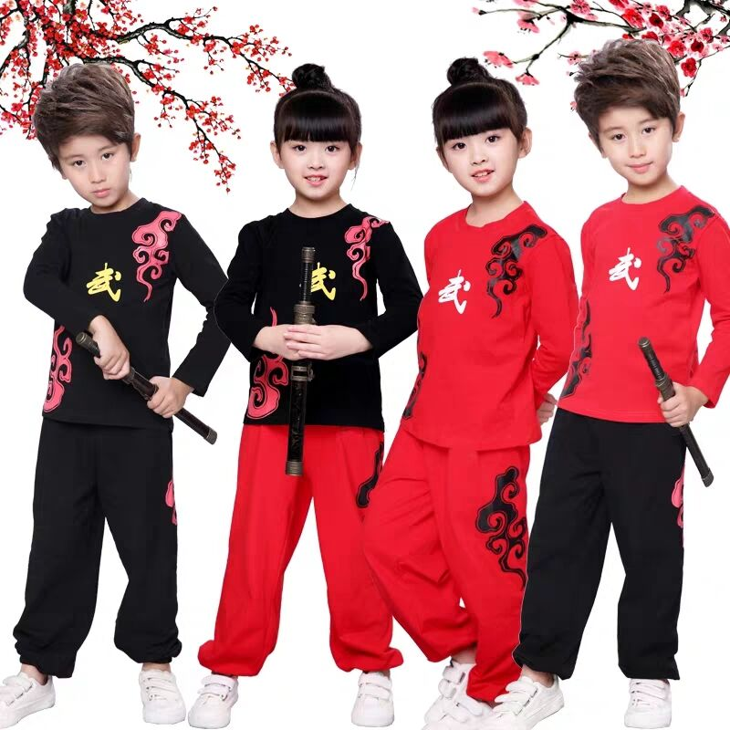 2019 Chinese Wushu Uniform Kungfu Clothing Martial Arts Suit Wing Chun Cotton Printing Outfit For Boy Girl Kids Children Sets