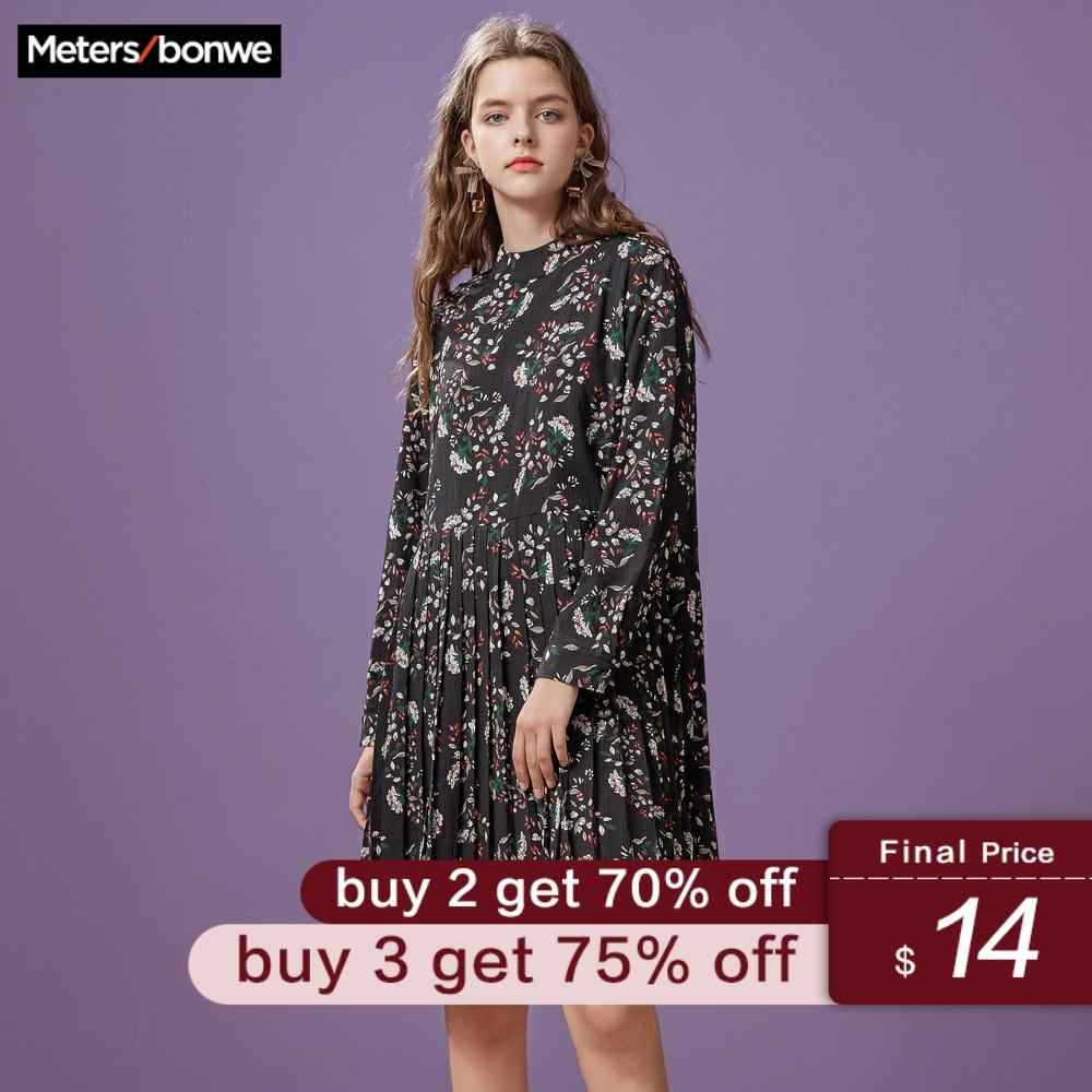 Metersbonwe Spring dress ruffled floral print women dress Casual a-line ladies chic autumn office dress