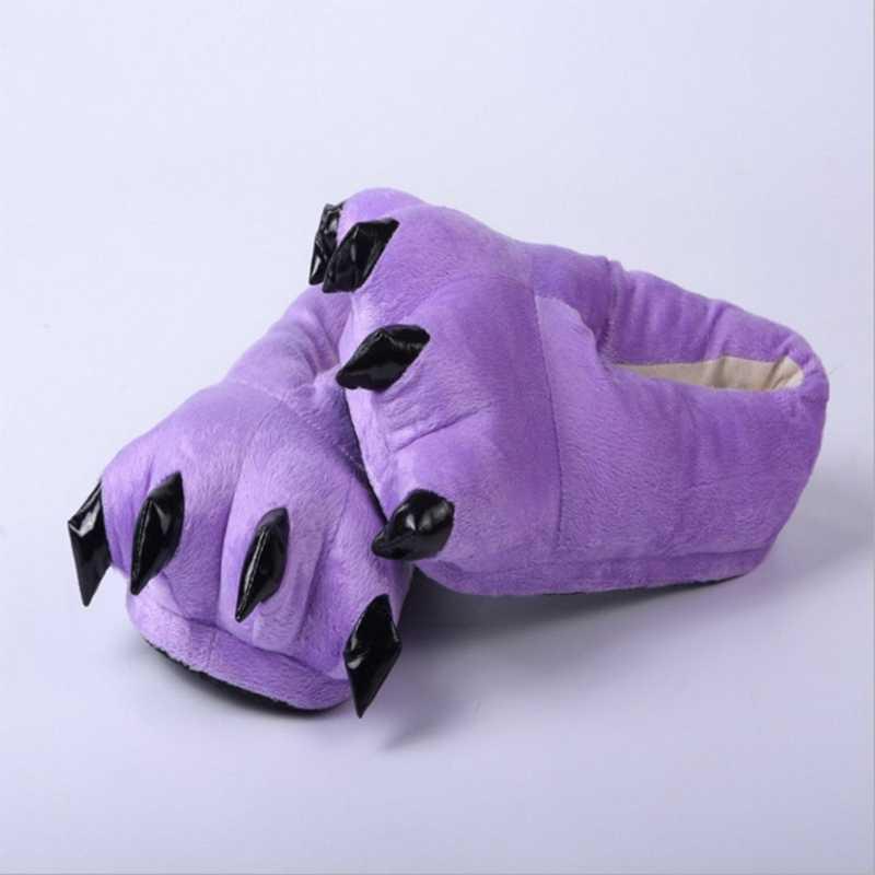 Girseaby 2019 Kış sıcak Yumuşak kapalı kat Terlik Kadın Erkek Çocuklar terlik Pençe Komik Hayvan Canavar Pençe pantoufle zapatos