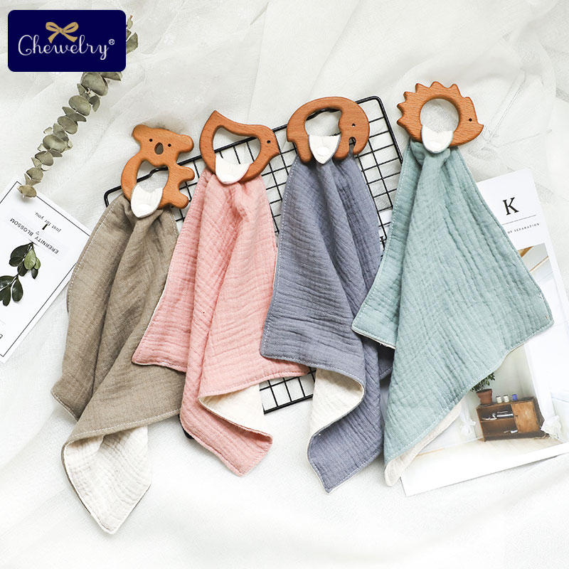 1pcs Baby Bibs Cotton With Wooden Teether Rodent Animals Koala Newborn Solid Color Snap Button Soft Triangle Towel Burp Cloths