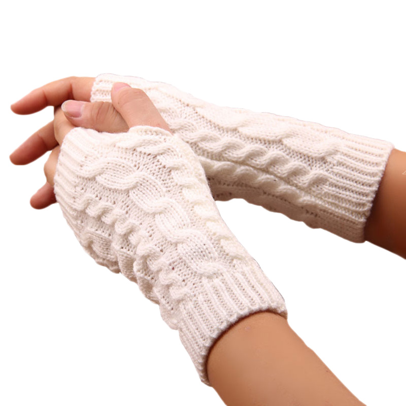 1 Pair Winter Unisex Mittens Arm Sleeve Warmer Fingerless Knitted Long Gloves Mangas Para Brazo Mujer Women Men Arm Warmers
