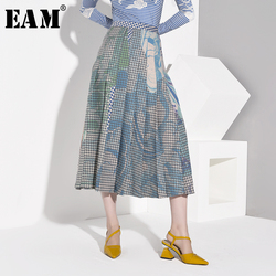 [EAM] High Waist Pleated Plaid Print Temperament Contrast Color Half-body Skirt Women Fashion Tide New Spring Autumn 2020 1B7410