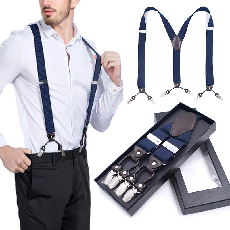 Back Suspenders For Men  With 6 Clips Heavy Duty Clips Wide Adjustable Elastic X-Back Braces Pants Father/Husband's Gift A66