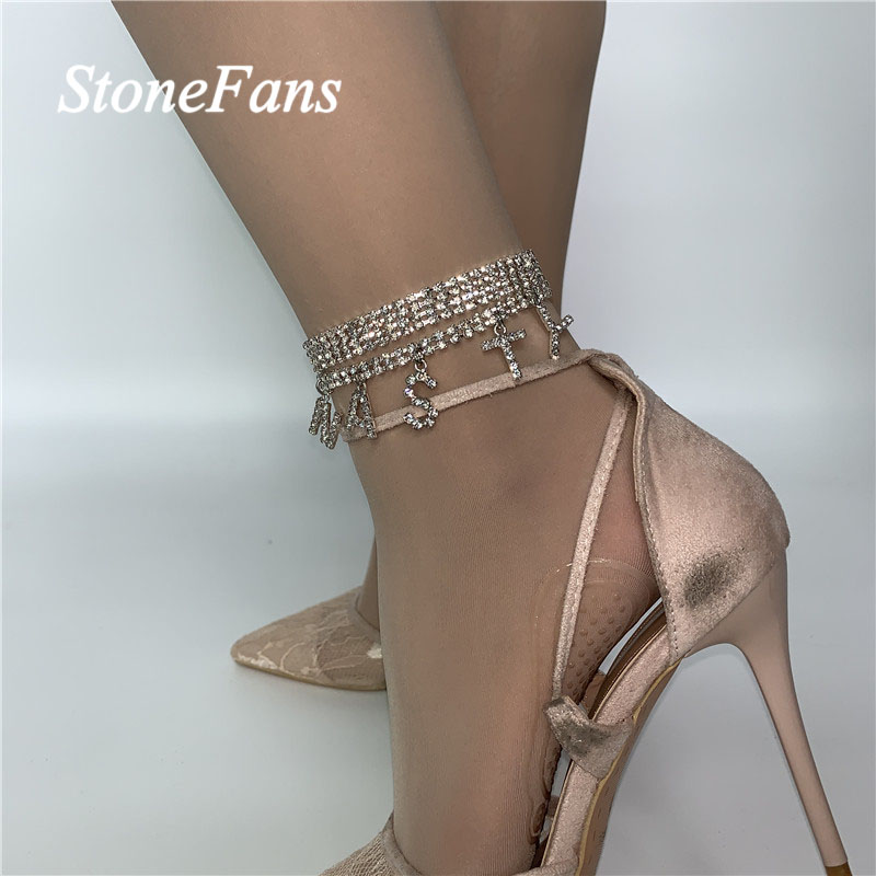 Stonefans Fashion NASTY Chain Rhinestone Letter Anklet for Women Bohemian Foot Jewelry FREAK Word Anklet Barefoot Chain