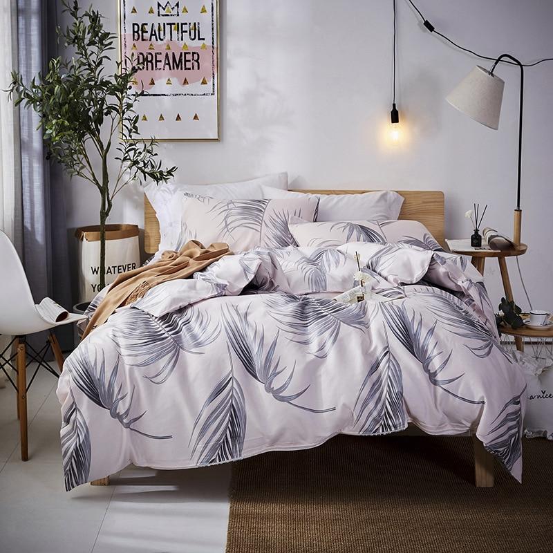 Plant Floral Bedding Set Luxury Nordic White 4-Pcs Cotton Sheet Kids Double Minecraft Duvet Cover Bedroom Bed Clothes Comforter