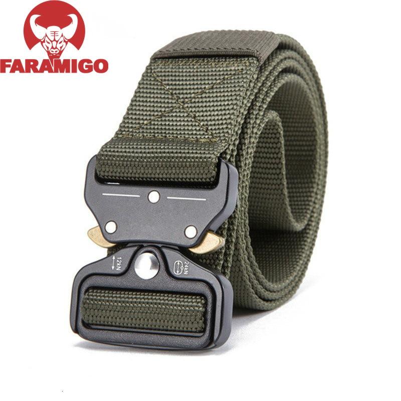 FARAMIGO Military Equipment Knock Off Army Belt Men's Heavy Duty US Soldier Combat Tactical Belts Sturdy 100% Nylon Waistband