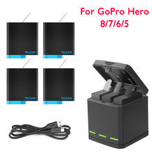 Smart Charger For GoPro Hero 8 7 6 5 Li-ion Battery Charging Case Type-C Cable LED 3 Way Storage Box Sport Camera Accessories cheap Jeebel For GoPro Hero 8 7 6 5 CN(Origin) Action Camera Accessories Kits Bundle 1 Plastic Battery Charger for Gopro Hero 8 7 6 5