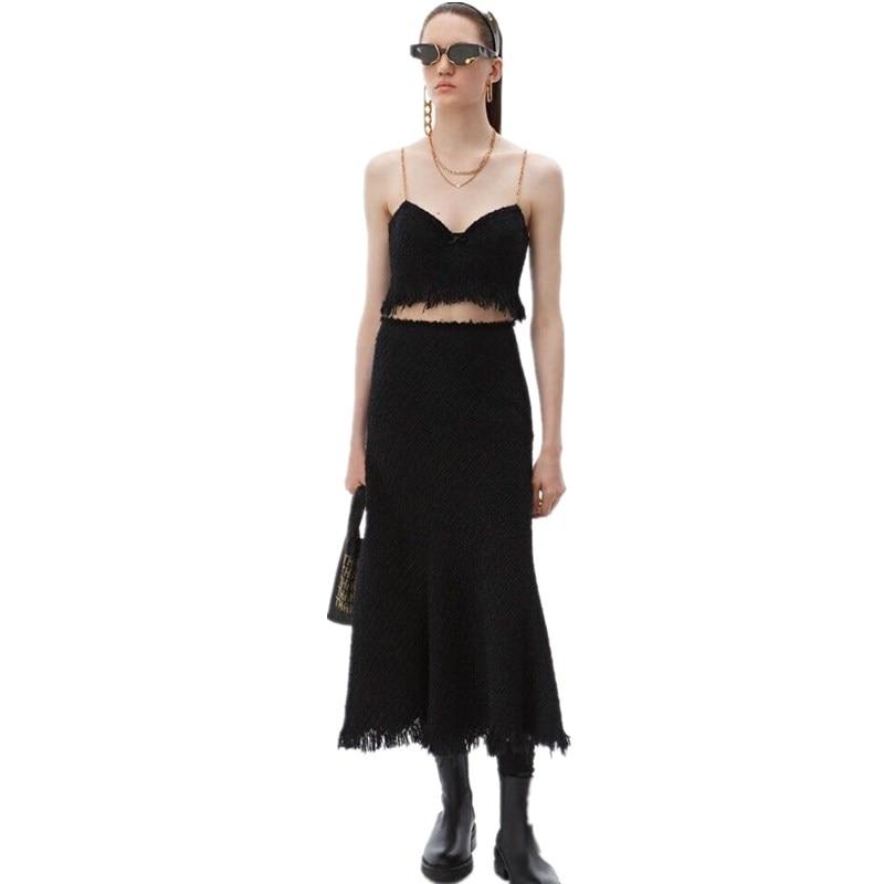 Two Piece Women Tweed Set 2019 Sexy Black Crop Tube Top + Tassel Long Fish Tail Tweek Skirt Set Runway Brand Outfit Suit Set