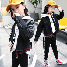 Baby Girl Jacket Spring 2019 Black Modis Denim Fake Two Pieces Cowboy Coat Toddler Casual Children Jean Tops Clothes