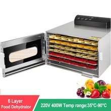 6 Trays Household Food Dehydrator Food Dryer Stainless Steel Drying Machine Electric Air Dryer Drying Fruit meat Fruit