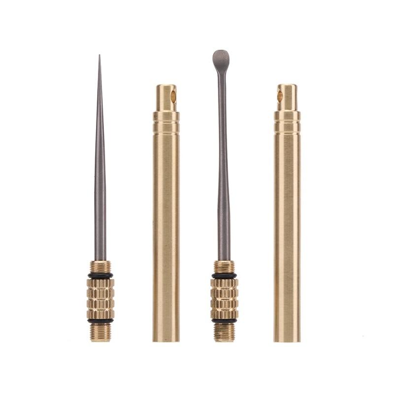2020 Titanium Tactics Toothpick Earpicker Brass Socket Tube Waterproof Outdoor EDC Self-defense Multifunction Portable Tool New