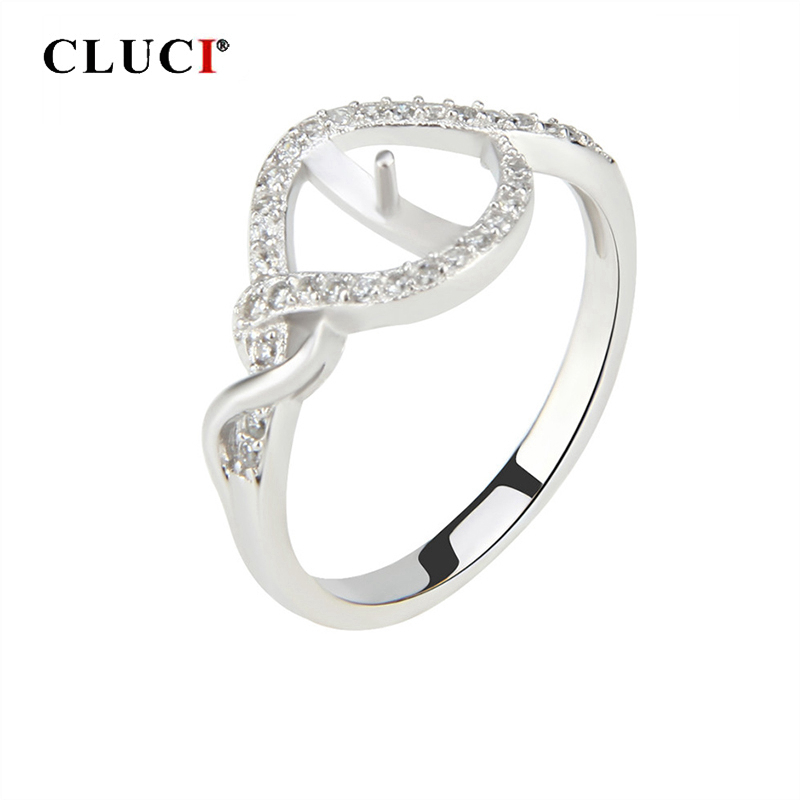 CLUCI Silver 925 Zircon Rings Pearl Ring Mounting Jewelry For Women Engagement 925 Sterling Silver Rings Jewelry