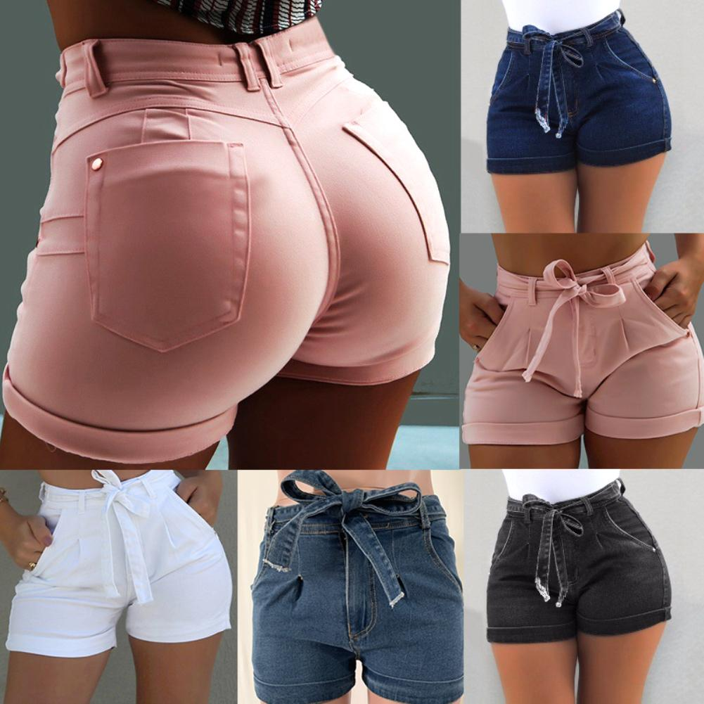 Plus Size Fashion Belted Denim Shorts Summer Women Skinny High Waist Jeans Lady Streetwear Hot Short Pants With Pockets Zipper