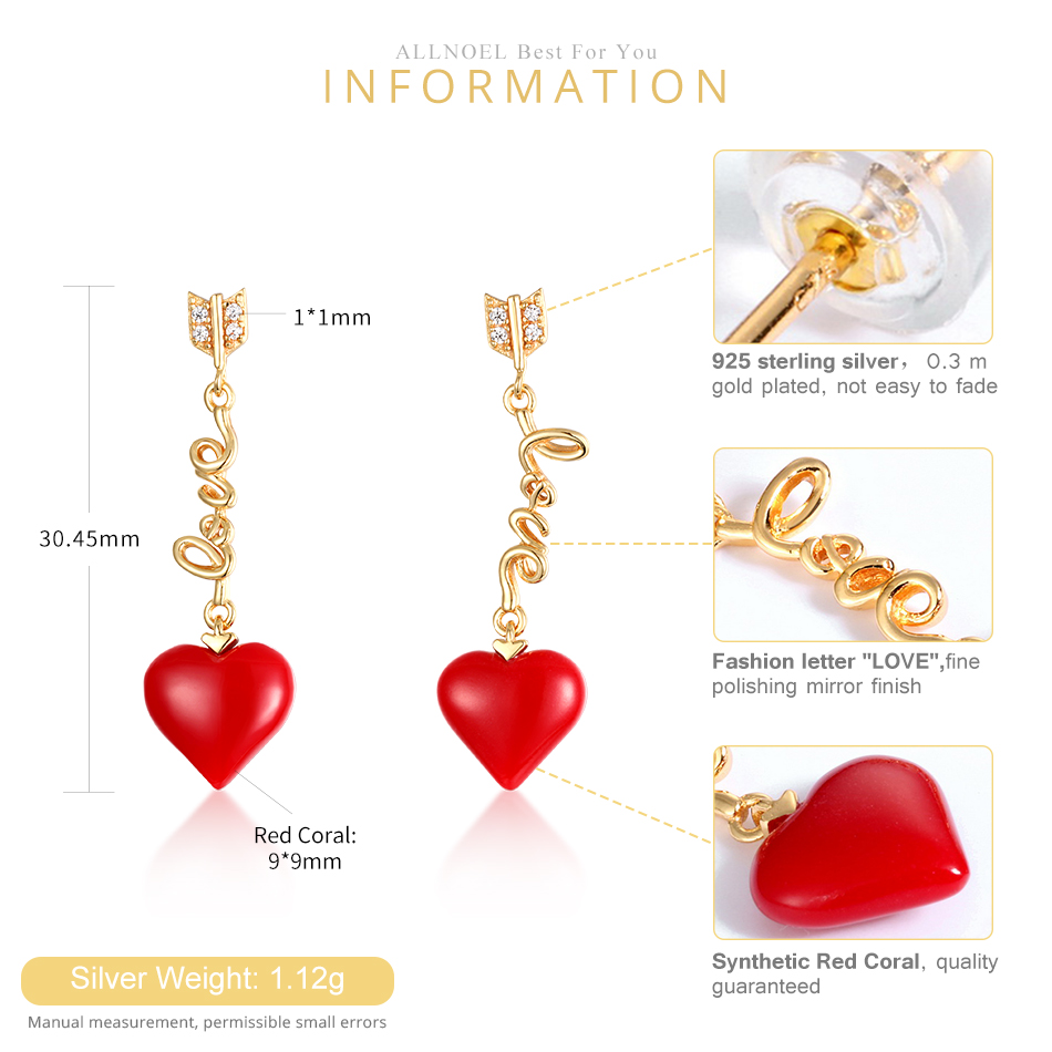 ALLNOEL Real 925 Sterling Silver 9K Gold synthetic coral Heart Pendant Earrings  Jewelry Gift For Women Fine Jewelry 2019 NEW (1)