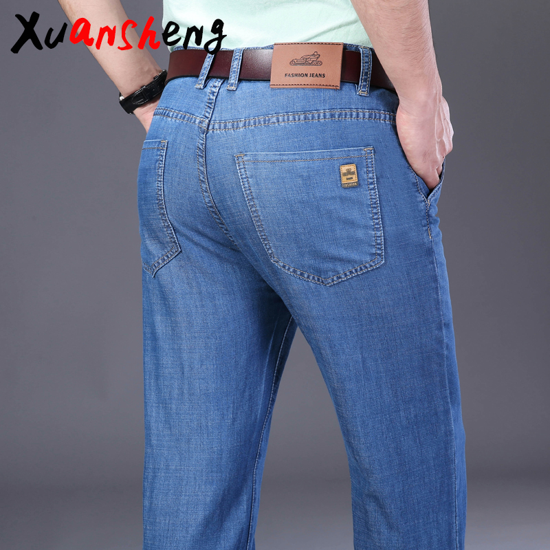 Xuan Sheng Straight Tube Men's Jeans 2020 Thin New Stretch Loose Brand Light Blue Classic Long Pants Streetwear High Waist Jeans