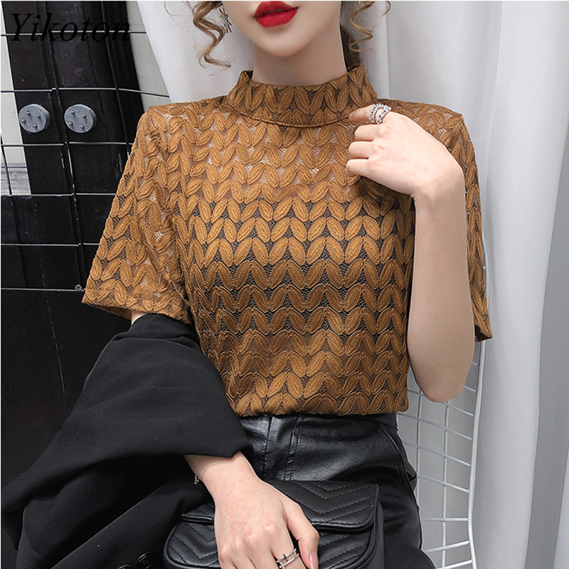 Turtleneck Cotton Women's T-shirts Fashion Hollow Out Summer Clothes For Women T-shirt With Short Sleeve Tops 2021T shirt Female 3