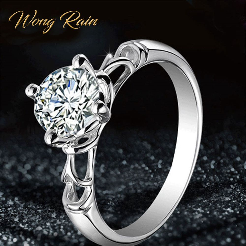 Wong Rain Trendy 925 Sterling Silver Created Moissanite Gemstone Wedding Engagement Hollow Women Ring Fine Jewelry Wholesale