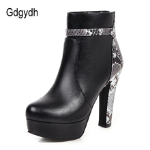 Ankle-Boots Platform-Shoes Snake-Print Extreme Big-Size Women High-Heels Gdgydh Party-Zipper