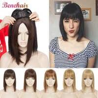 SNOILITE, peluquín, pelo con flequillo, Clip en una pieza, peluca recta, Clip sintético para el pelo, extensiones de cabello, cabello falso superior