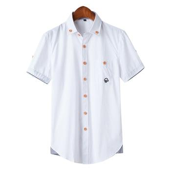 MarKyi plus size 5xl mushroom embroidery mens short sleeve casual shirts fashion 2017 new summer cotton men social