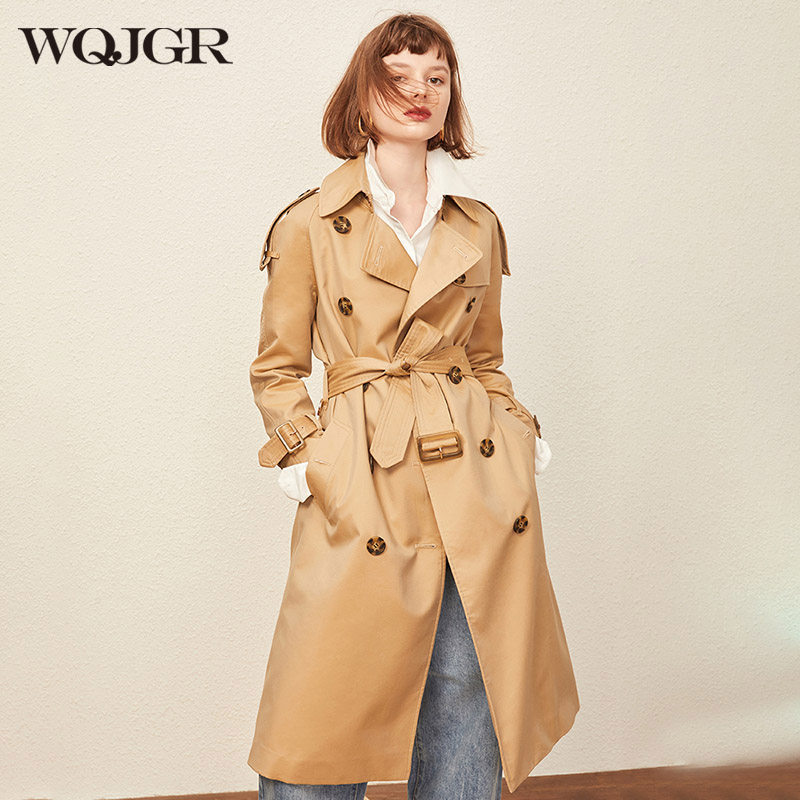 WQJGR 2020 Spring and Autumn Trench Coat Women Long Sleeve Turn-down Collar Windbreaker Trench Femme Double Breasted