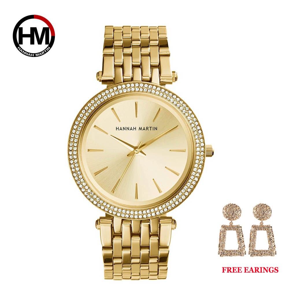 Dropshipping Women Rose Gold Top Luxury Brand Quartz Rhinestone Fashion Waterproof Wrist Watch 1 set Gift Dress relogio feminino